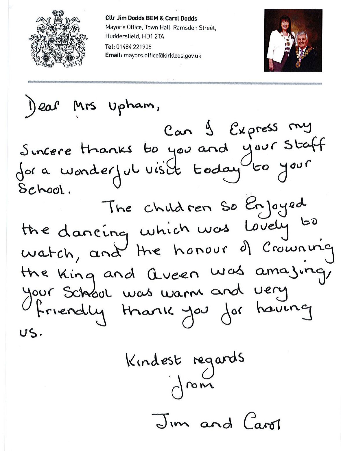 Letter of thanks from the Mayor of Kirklees