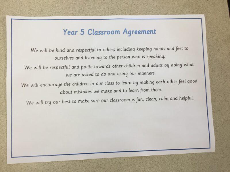 Year 5 class agreement